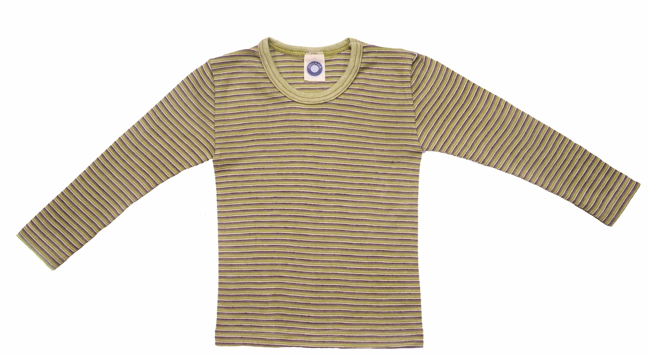 Cosilana T-shirt manches longues enfants Laine/soie vert/prune/naturel rayé-71233-273