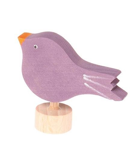 Figurine en bois Oiseau assis violet GRIMM\'s