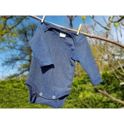 Cosilana Body manches longues Bleu - laine/soie