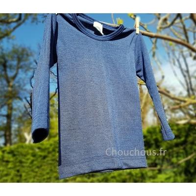 Cosilana T-shirt enfant manches longues Bleu - Laine/soie