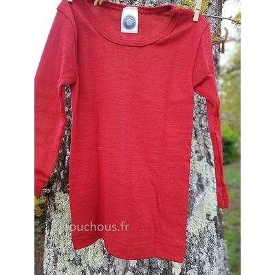 Cosilana T-shirt enfant manches longues Rouge - Laine/soie