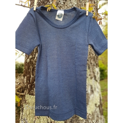 Cosilana T-shirt Enfant manches courtes bleu - Laine/soie
