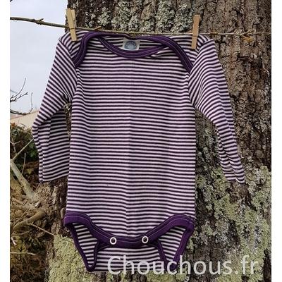 Cosilana Body manches longues violet rayé - laine/soie