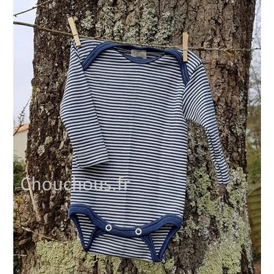 Cosilana Body manches longues bleu rayé - laine/soie