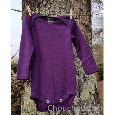 Cosilana Body manches longues violet - laine/soie