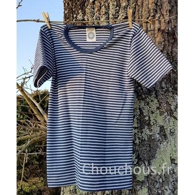 Cosilana T-shirt Enfant manches courtes bleu rayé - laine/soie