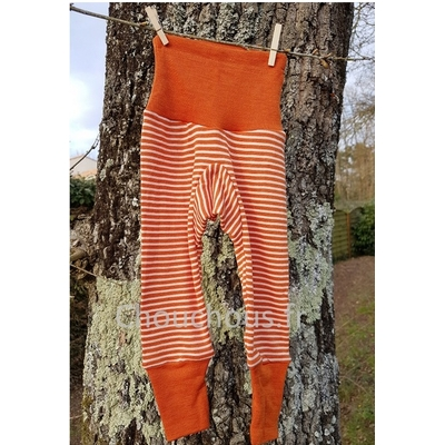 Cosilana Pantalon Orange rayé - laine/soie