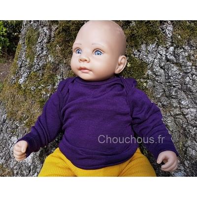 Cosilana T-shirt manches longues Violet - laine/soie