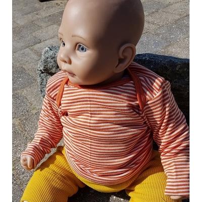 Cosilana T-shirt manches longues Orange rayé - laine/soie