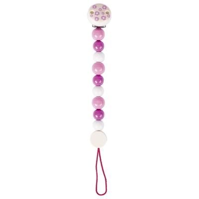 Attache tétine perles roses et blanches Heimess