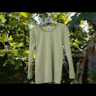 Cosilana T-shirt manches longues Enfant Vert rayé - Laine/soie