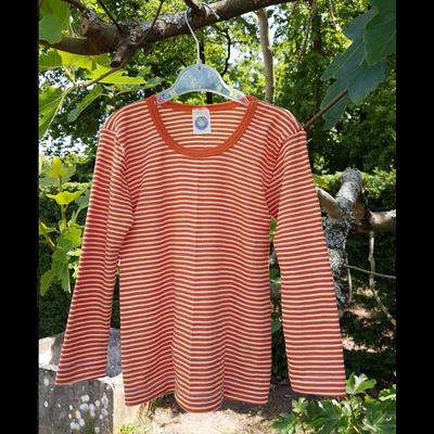 Cosilana T-shirt manches longues Enfant Orange rayé - Laine/soie