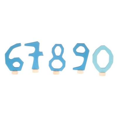 Figurines en bois Chiffres bleus de 6 à 9 + 0 Grimm's