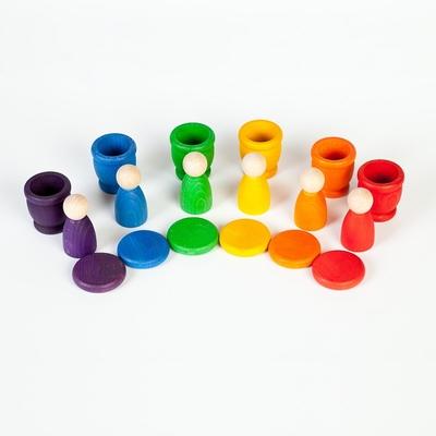 6 Nins et 6 Pots colorés avec couvercle Grapat
