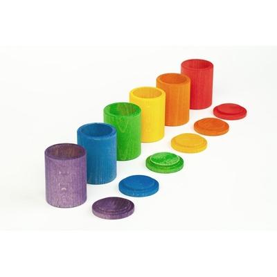 6 Bols colorés en bois avec couvercle Grapat