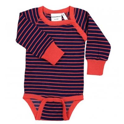 Body en laine manches longues Marine/Rouge rayé Geggamoja