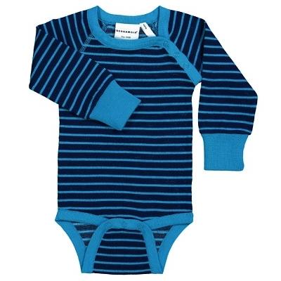 Body en laine manches longues Marine/Bleu rayé Geggamoja