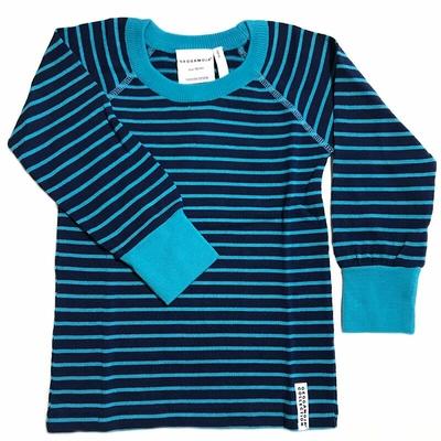 T-shirt manches longues en laine Marine/Turquoise Geggamoja