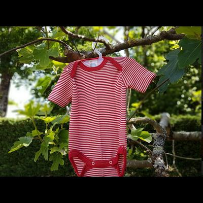 Cosilana Body manches courtes Rouge rayé - Laine/soie