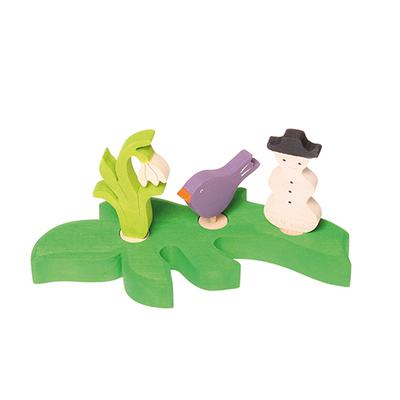 Feuille verte foncée support figurines Grimm's