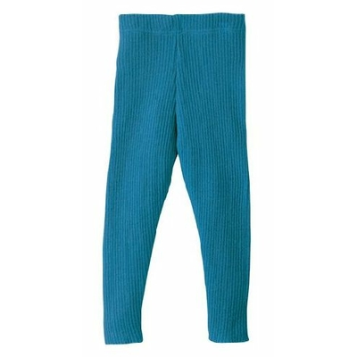Leggings en laine tricoté Bleu Disana