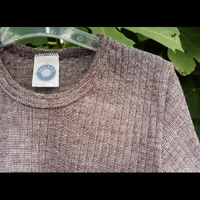 Cosilana T-shirt manches longues Enfant Marron chiné - Laine/soie/coton bio
