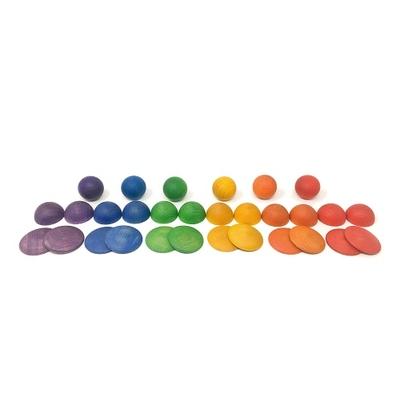 Sphères, boules et disques en bois - Lot de 30 pièces Grapat