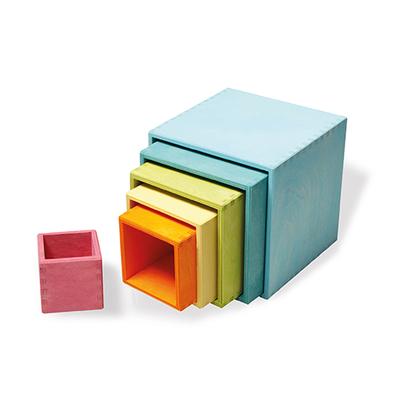 Grands cubes à empiler en bois Pastel - 6 Pièces Grimm's
