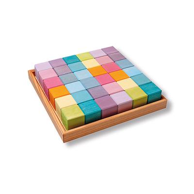 36 cubes de construction en bois - couleurs Pastel Grimm's