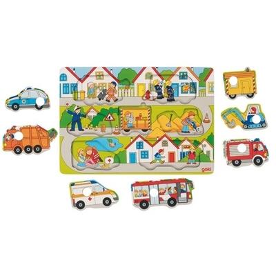 Puzzle cache-cache véhicules Goki