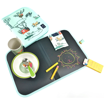 Set de table ardoise pliable Safari + 4 craies Jaq Jaq Bird