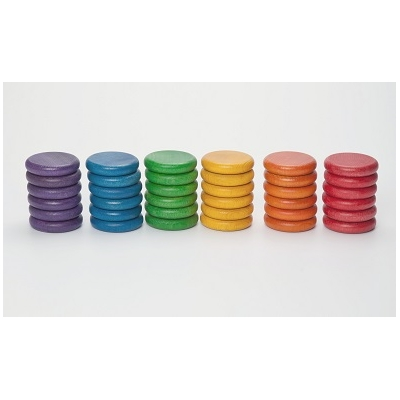 36 Pièces colorées 6 couleurs en bois Grapat