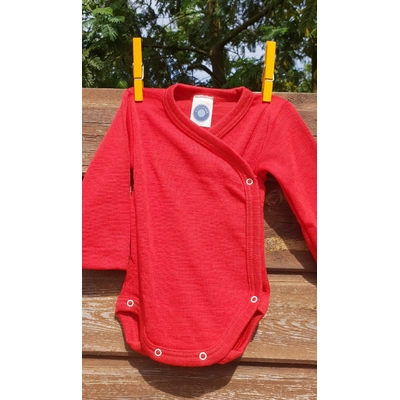 Cosilana Body kimono manches longues Rouge - Laine/soie