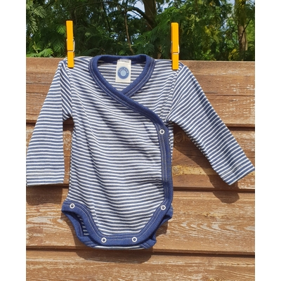 Cosilana Body kimono manches longues rayé bleu - Laine/soie