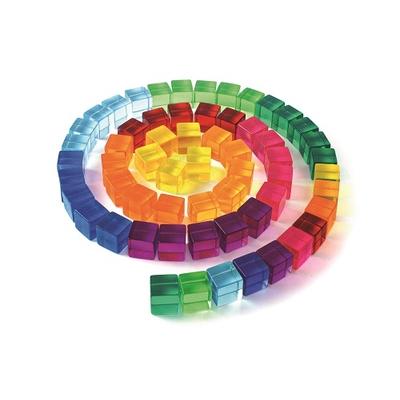 100 cubes translucides colorés Bauspiel