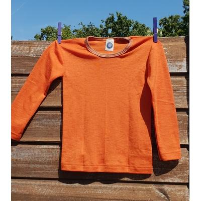 Cosilana T-shirt manches longues enfants orange/rouille- Laine/soie