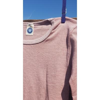 Cosilana T-shirt manches longues enfants rose/lilas - Laine/soie