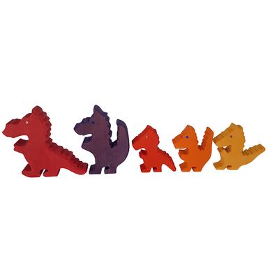 5 Dragons en bois Rosso Bauspiel
