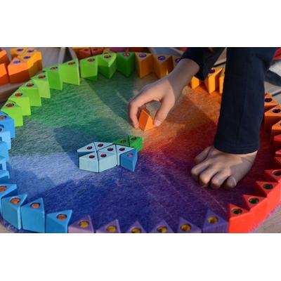 Tapis arc-en-ciel en feutre de laine - Ø 50cm Papoose Toys