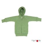 Gilet à capuche zippé en laine ManyMonths - coloris 2021 Jade Green