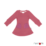 Robe poches coeur en laine ManyMonths - coloris 2021 Earth Red