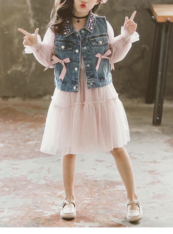 Robe + veste jean petite fille boho boheme chic DRESSPF1690