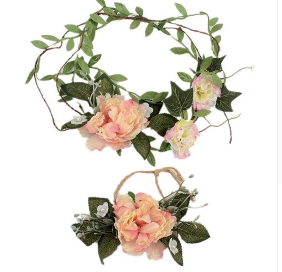 Couronne bandeau cheveux chanvre fleurs boho boheme chic ACCESS0407