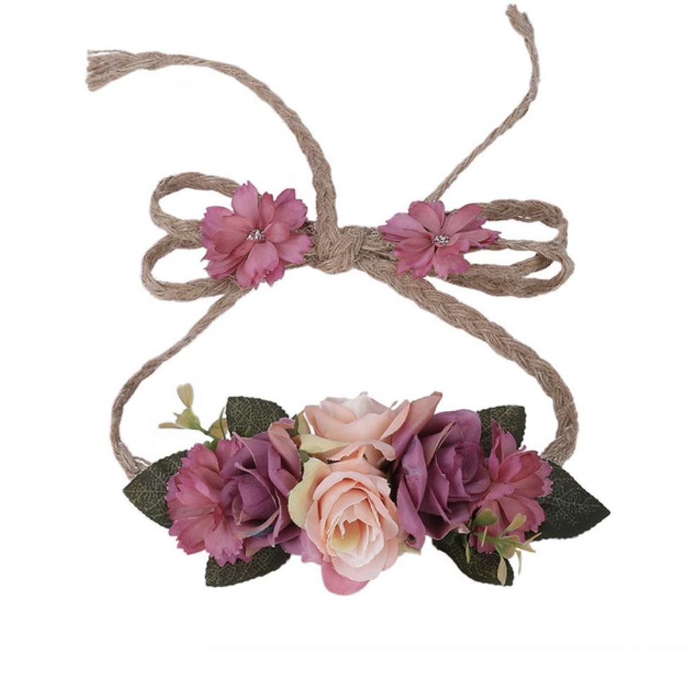 Couronne bandeau cheveux chanvre fleurs + bracelet boho boheme chic ACCESS0408