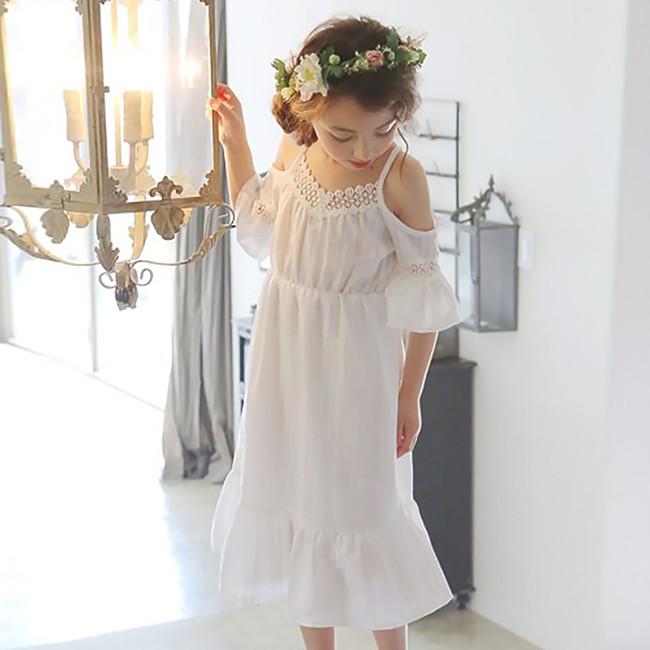 Robe blanche petite fille boho bohème chic DRESSPF1553