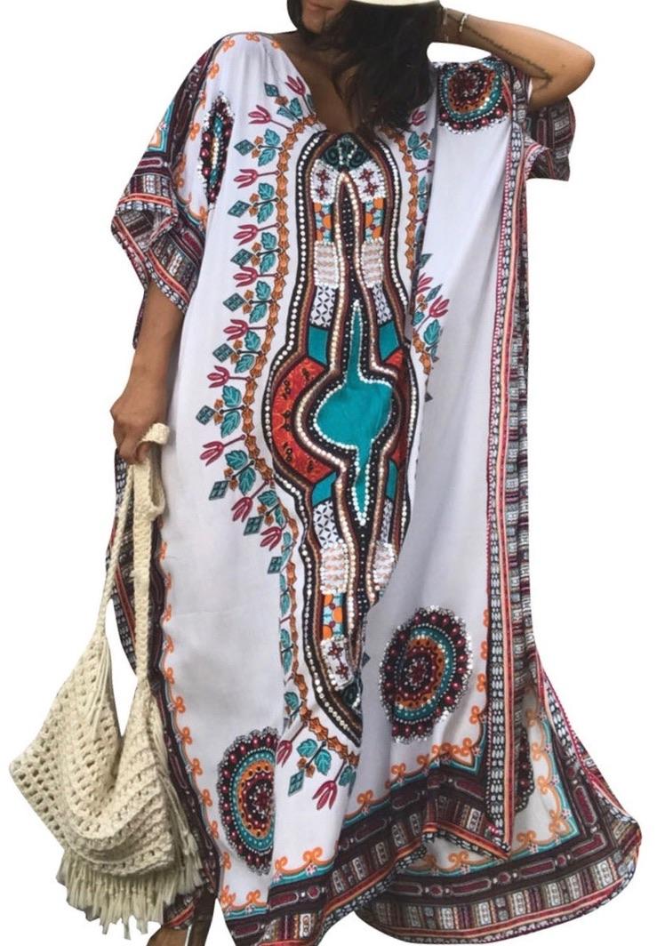 Robe longue caftan imprimé ethnique boho bohème chic DRESSL1343