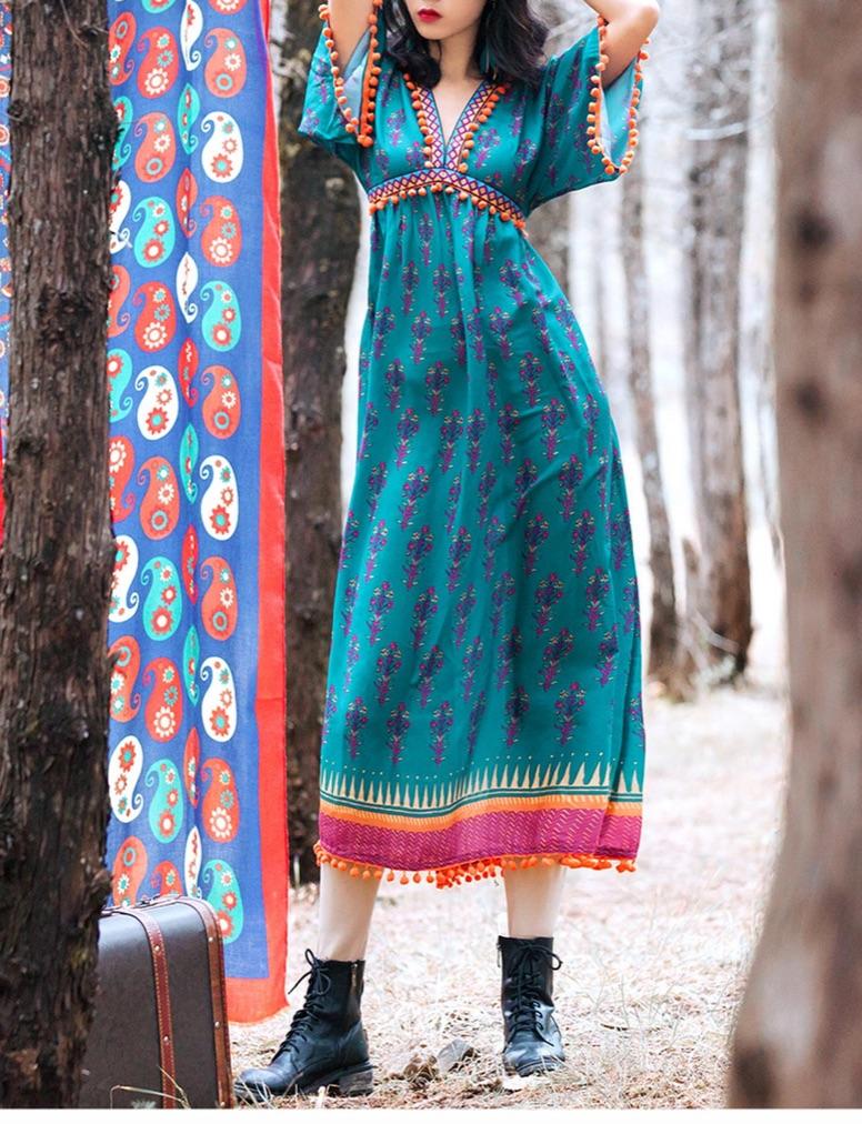 Robe longue pompons imprimée boho bohème chic DRESSL1750