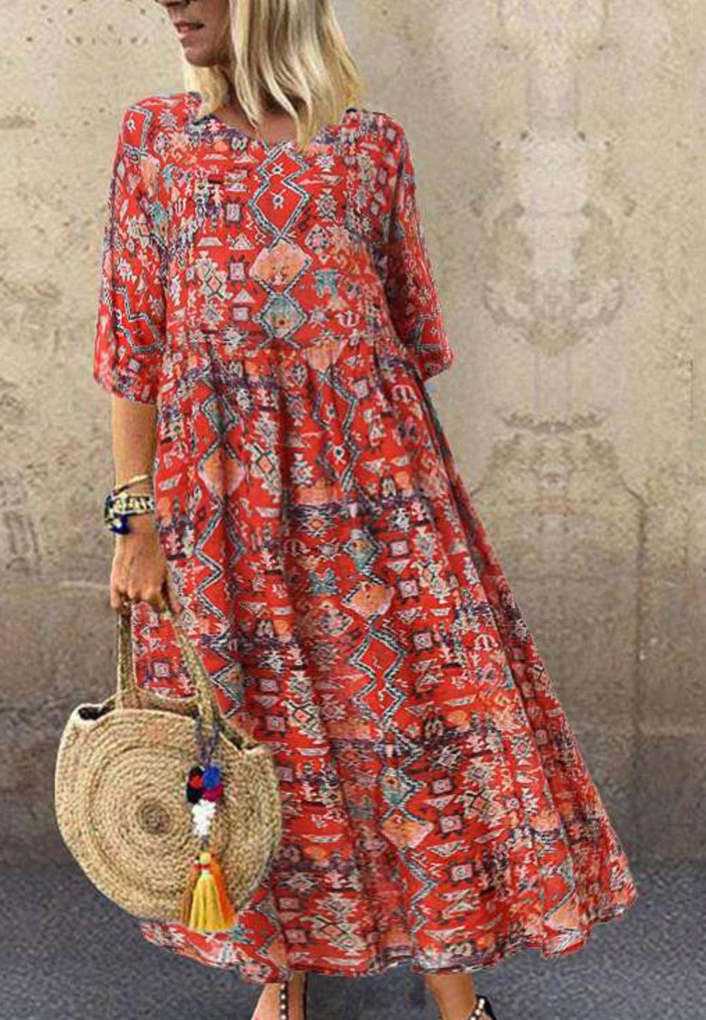 Robe imprimé ethnique boho boheme chic DRESSL1753