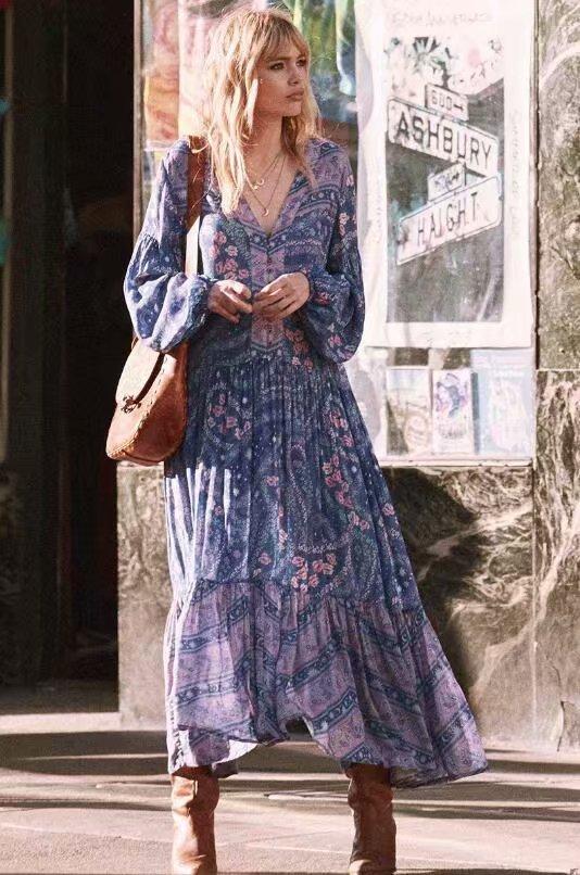 Robe longue imprimée boho boheme chic DRESSL1508