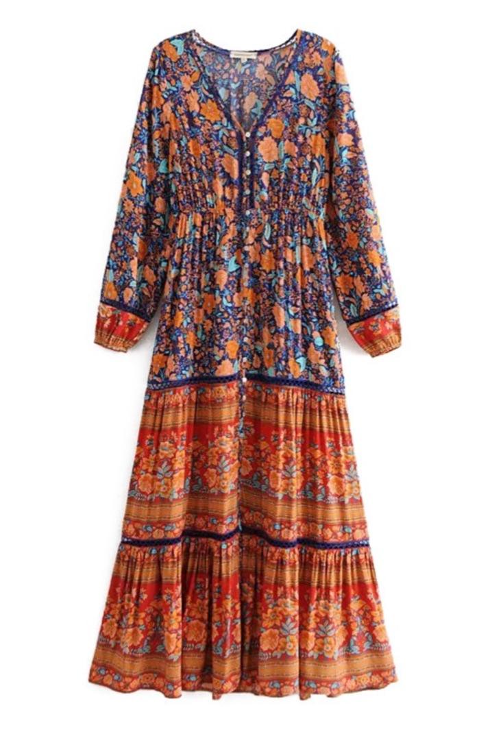 Robe longue imprimée fleurs boho bohème chic  DRESSL1703